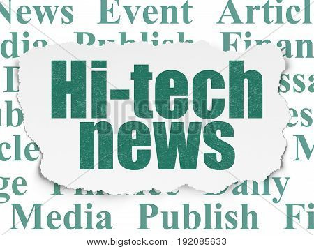 News concept: Painted green text Hi-tech News on Torn Paper background with  Tag Cloud