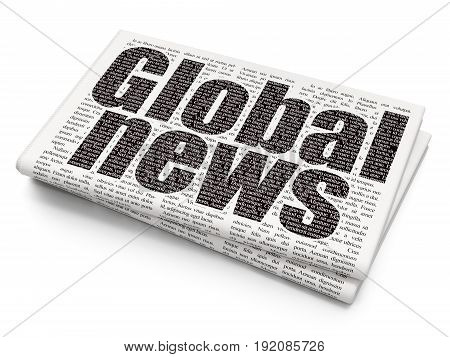 News concept: Pixelated black text Global News on Newspaper background, 3D rendering