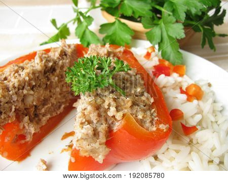 Bell pepper filled with minced meat with rice