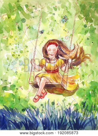 Girl swinging on a swing. Watercolor illustration. Hand drawn holiday background or poster