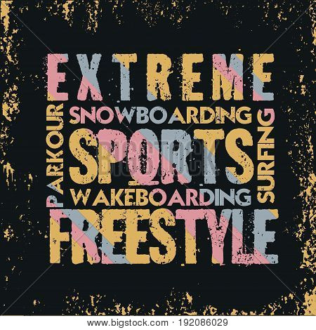 extreme sports T-shirt design fashion typography stylish printing design for sports wear apparel.
