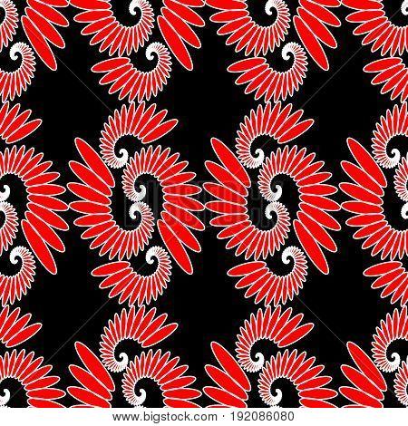 Indian ethnic motive red and white design on black background seamless abstract vector tile eps 10 vector