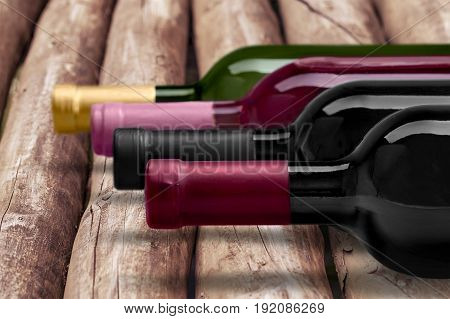 Row wine bottles bar red group objects