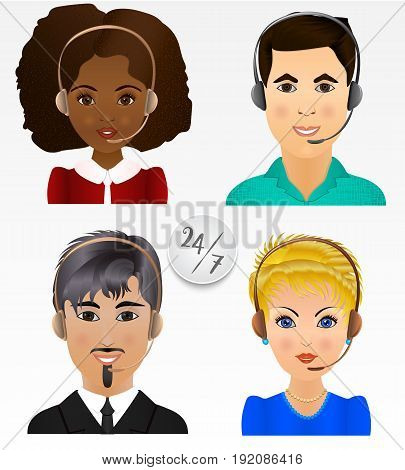 Set vector people avatars. Employees of call center support and help service.