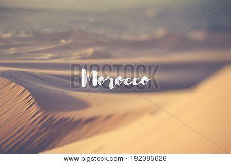Morocco. Sand dunes in the Sahara Desert.