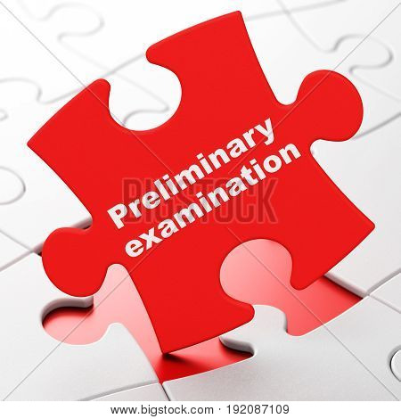 Learning concept: Preliminary Examination on Red puzzle pieces background, 3D rendering
