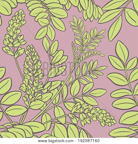 licorice branches seamless pattern on color background