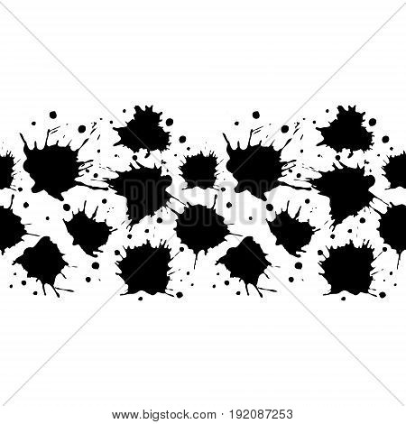 Vector Seamless Pattern, Border With Inc Splash, Blots, Smudge And Brush Strokes. Grunge Endless Tem
