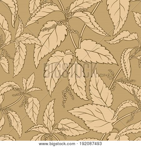 nettle vector seamless  pattern on color background