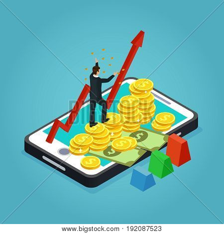 Isometric financial development and management concept with businessman growing arrow money gold coins on mobile screen isolated vector illustration