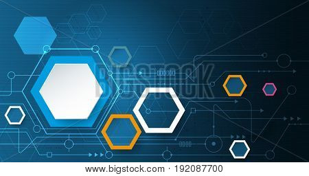 Vector illustration circuit board and 3d paper hexagons background. Hi-tech digital technology and engineering digital telecom technology concept. Vector abstract futuristic on white gray color background