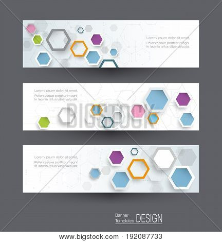 Abstract banners set with image of science innovation concept. Circuit board and hexagons or polygon background. Hi tech digital technology. Abstract futuristic hexagon shape on light gray color background