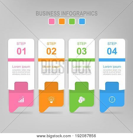 Infographic template of four steps on squares envelope of banner arrows point down flat design of business icon vector