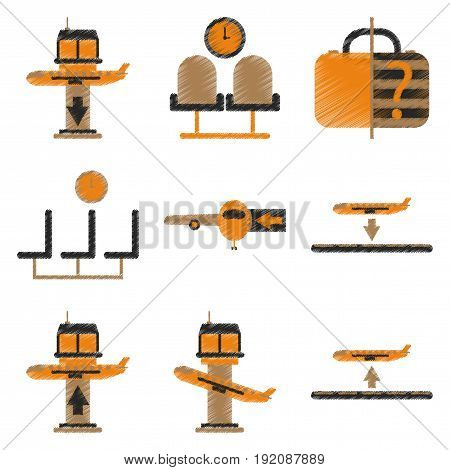 Set of Flat Icons in Shading Style Airport service