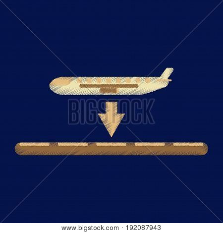 Flat Icon in Shading Style airplane lands airport