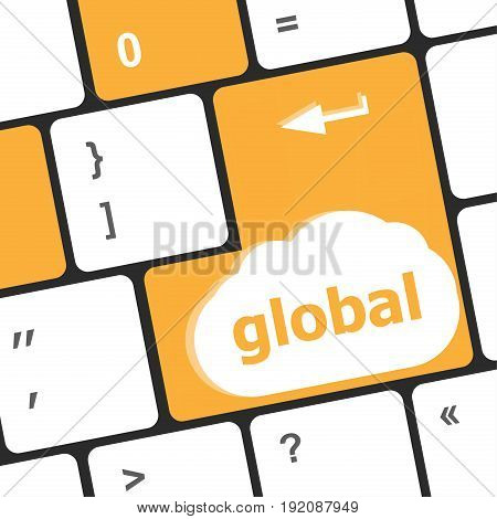 Global Button On The Keyboard - Business Concept