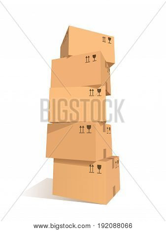 Cardboard boxes stacks. Stacked set of packages with symbols. Graphic design element for flyer, poster, mail service, worldwide service advertisement. Isolated on white background. Vector illustration