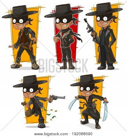 Cartoon smiling bandit mafiosi in black mask with guns character vector set
