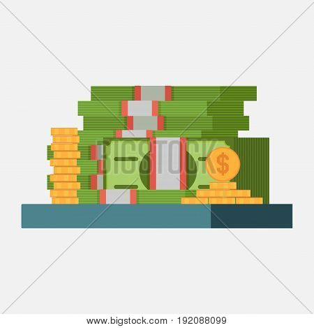 money icon banknotes and coins profit concept image income flat style image