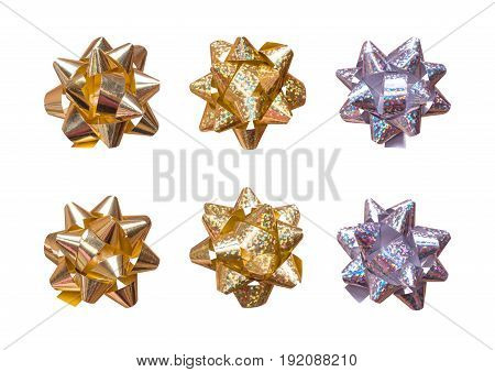 A set of gift bows isolated on white background. Gold and silver foil decorations