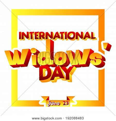 Vector illustrated banner greeting card or poster for International Widows' Day.