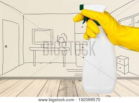 Holding spray rubber hand bottle glove hand drawn