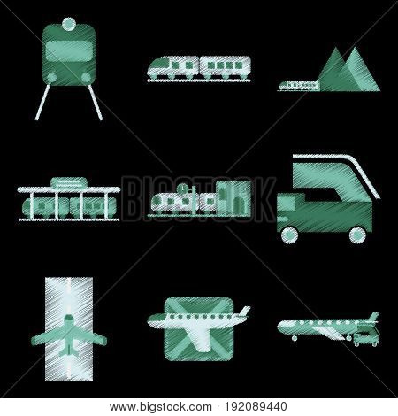 Set of Flat Icons in Shading Style logistics