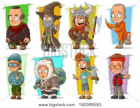 Cartoon cool funny different characters big vector set. Vol 2