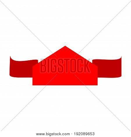 Banner red sign. Emblem modern symbol of business. Blank sticker labeling. Elegant form of the logo for sale. Colorful template for badge tag wrapping etc. Design element. Vector illustration