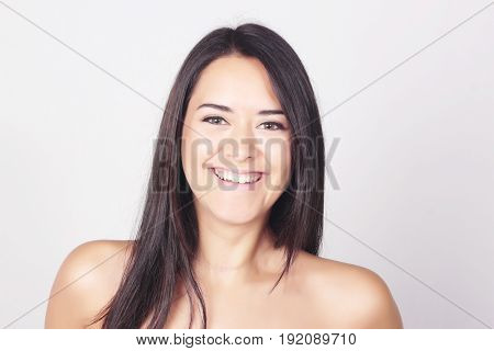 Portrait Of Carefree Woman Isolated Over White Background