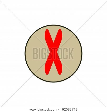 Cross red sign in beige circle. Isolated on white background. Red symbol wrong. Negative marks. Reject picture. White sticker. Flat vector image. Design element. Vector illustration.