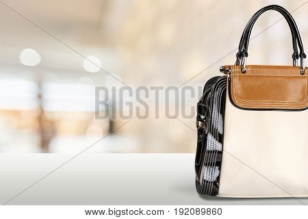 Bag leather elegant famale color background object