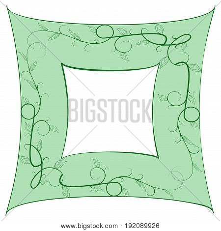 Frame of green twig card. Fashion graphic background design. Modern stylish abstract texture. Colorful template for prints textiles wrapping wallpaper website. Design element. Vector illustration