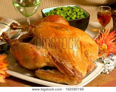 ROAST TURKEY, WITH GREEN PEAS,THANKS GIVING MEAL IN THE USA IS CENTERED ON TURKEY 22ookj