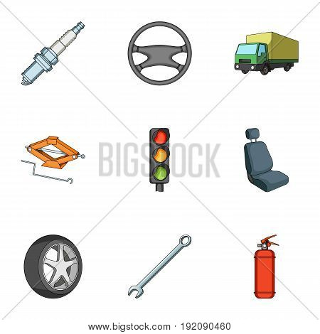 Wheel, wrench, jack and other equipment. Car set collection icons in cartoon style vector symbol stock illustration .