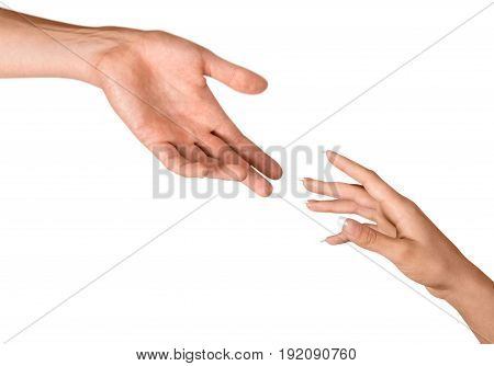 Man woman reaching isolated valentine closeup sign