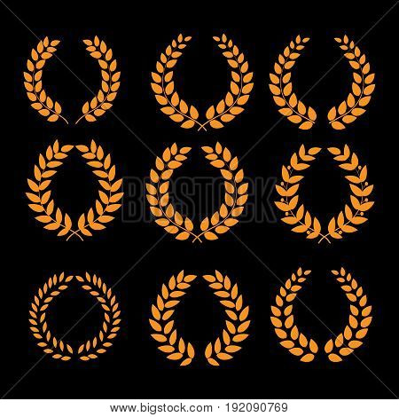 Wreath reward gold set. Modern symbol of victory and award achievement champion. Leaf ceremony awarding of winner tournament. Colorful template for badge tag. Design element. Vector illustration