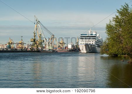 The Cruise Vessel Nautica Floats On The Sea Channel In St. Petersburg