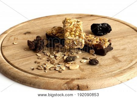 Muesli snacks with seeds in the white background
