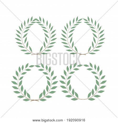 Wreath reward isolated set. Modern symbol of victory and award achievement champion. Leaf ceremony awarding of winner tournament. Colorful template for badge tag. Design element. Vector illustration