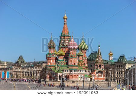 Moscow, Russia - May 3, 2017: Pokrovsky Cathedral from the Bolshoi Moskvoretsky Bridge