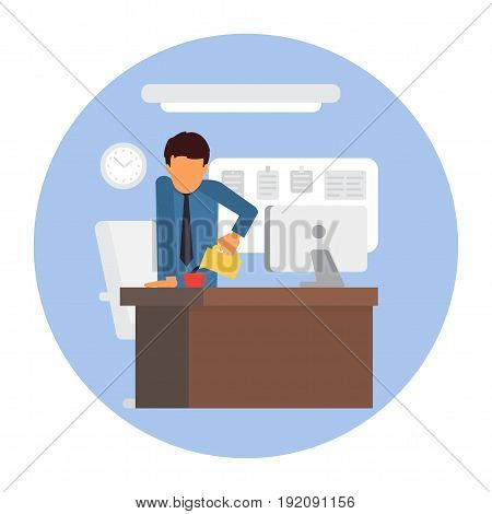 Businessman on coffee break. Man standing at desk making coffee. Business office workplace vector illustration.