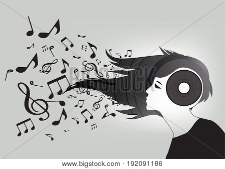 Conceptual background of a woman's vinyl head , hair turning into musical notes ,Vector