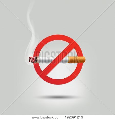 Stop smoking, cigarette burning prohibition sign, vector illustration