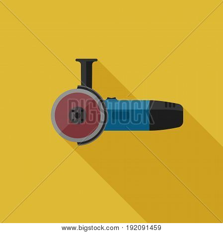Angle grinder flat icon with long shadow. Vector illustration of electric tool.