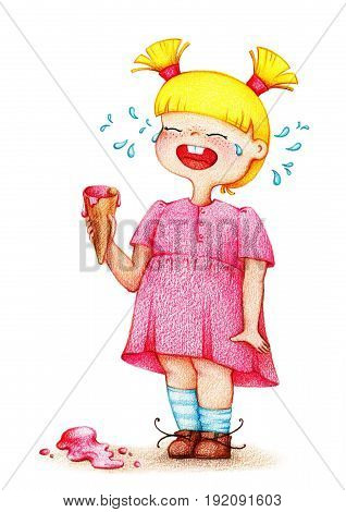hands drawn picture of little girl in pink dress cries over ice cream by the color pencils