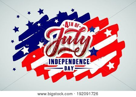 Hand Sketched Text 'happy 4Th Of July Independence Day'. Happy Independence Day Vector Lettering Typ