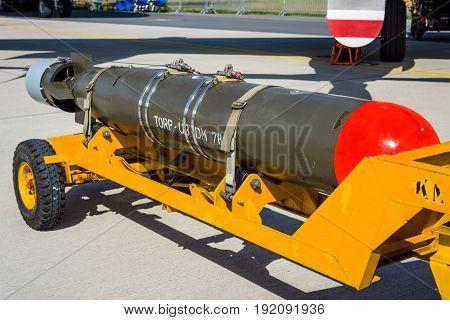 BERLIN GERMANY - JUNE 03 2016: Lightweight antisubmarine torpedo Mark 46 torpedo. Exhibition ILA Berlin Air Show 2016