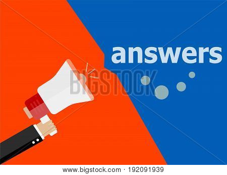 Flat Design Business Concept. Answers Digital Marketing Business Man Holding Megaphone For Website A