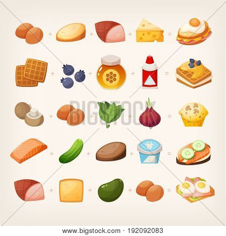 Set of colorful products and ingredients for making healthy tasty family breakfast dishes. Plus ready to eat dishes from different countries. Isolated vector images.